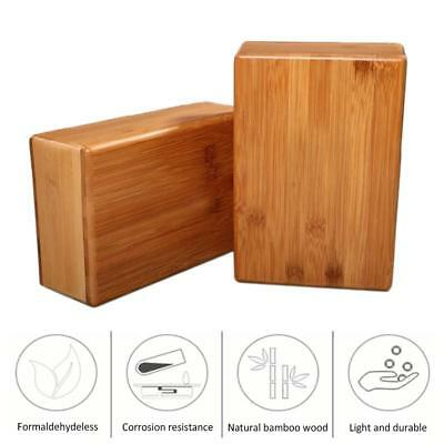 Yoga Tool Natural Bamboo Block Non-Slip Handstand Fitness Gym Workout Training