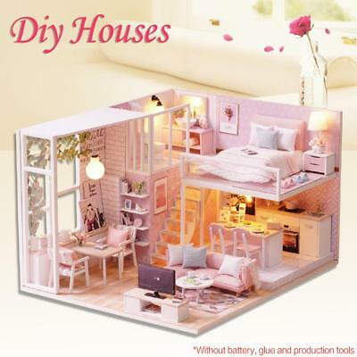 DIY Cottage Hut Small Doll House Wooden Assembly Home Decoration Birthday Gifts