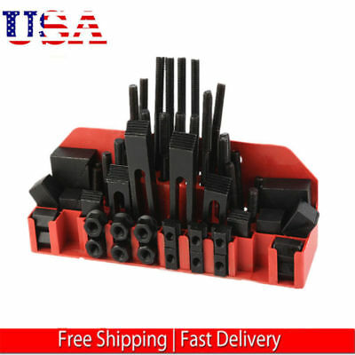 "58 Pc Pro-Series 1/2"" T-Slot Clamping Kit Mill Machinist Set 3/8-16"