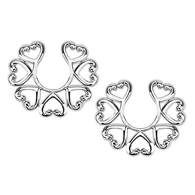 1 Pair Non Piercing Nipple Rings Vintage Hearts Clamps Clip Female Male Sex SM