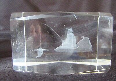 CHINESE FISHERMAN Laser 3D Etched Crystal Ornament Gift