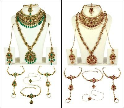 Engagement & Wedding Red Gold Lct Polki 9pcs Bridal Necklace Set Jewelry Bollywood Party Dulhan-1301