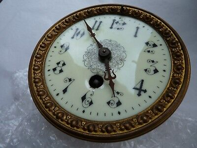 Antique Enamel Clock Face Dial Hands and Movement for Parts Repair