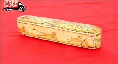 Old Vintage Unique Beautiful Design Wooden With Camel Bone Fitted Gift Box 3850