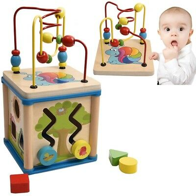 Baby Wooden Activity Cube Toy Small Play Centre Children Learning Bead Maze UK