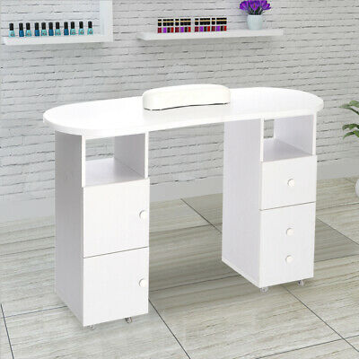 Salon Oval Manicure with Shelf Drawers Door Unit Technician Table Nail Station