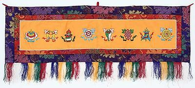 Eight Lucky Symbols Wandbehang, gross, quer, orange