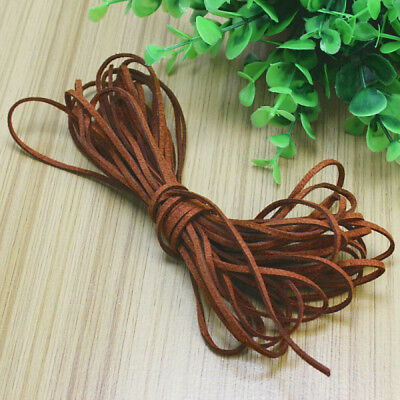 1 Roll Brown 2mm Faux Suede Leather Flat Thread Lace Cord String Jewellery DIY