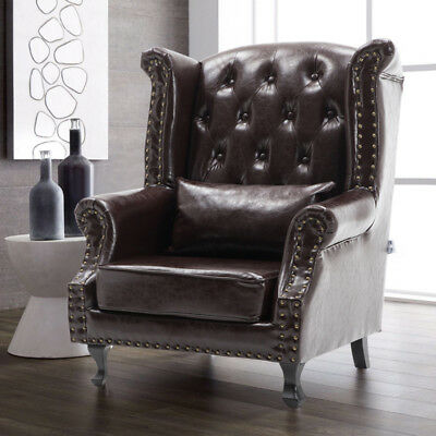 Antique Chesterfield Style Leather Chair Wing Back Fireside Armchair and Cushion