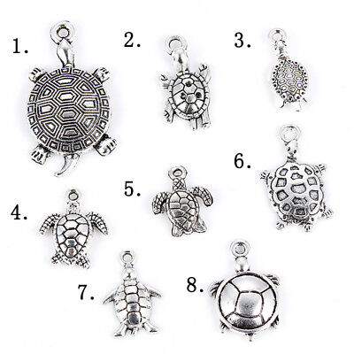 16Pc Ancient Silver Mixed Tortoise Charm Pendant DIY Jewelry Craft Accessory