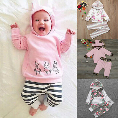 1Set Infant Girl Hooded Tops T-shirt Pullover Long Pant Suit Clothes Great Nice