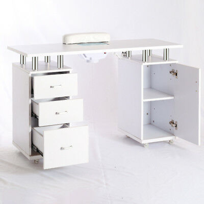 Wood Manicure Table w/ Dust Collector Unit Nail Art Desk Salon Furniture UK Plug