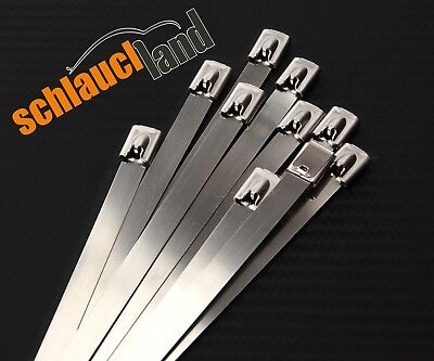 10x Kabelbinder Edelstahl 4,6 x 350 mm *** 1.4301 Stahl cable tie SS fire proof