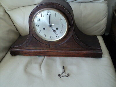 Antique Wooden Mantle Chiming Clock With Key Made in England