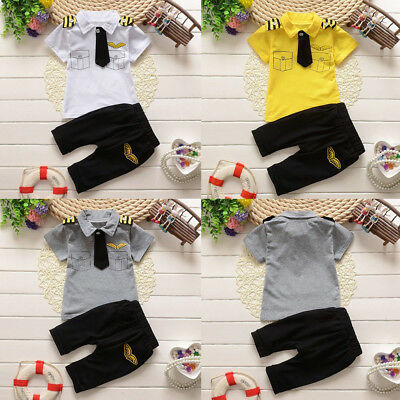 Newborn Infant Kids Boy Gentleman Tie Tops T-shirt+Pants 2PCS Outfit Set Nice