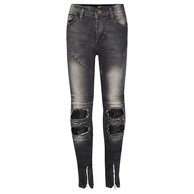 Kids Boys Black Stretchy Designer's Jeans Ripped Denim Skinny Pants Trousers