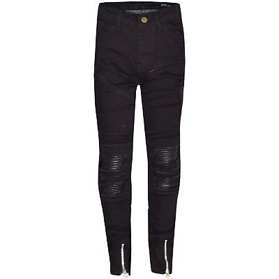Kids Boys Jet Black Stretchy Designer's Jeans Ripped Denim Skinny Pants Trousers