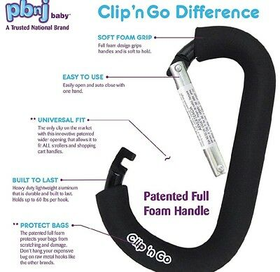 PBnJ baby Clip n Go - 1 Pack X-Large Stroller Organizer Hook For Purse Carrier