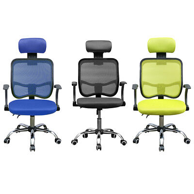 Executive Office Chair Computer PC Chair Mesh Seat Fabric Adjustable Swivel UK
