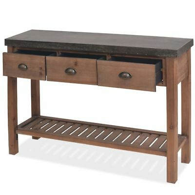 Console Table Solid Fir Wood Hallway Living Room Furniture Steel Top Industrial