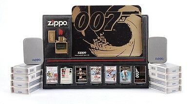 Extremely Rare Set of 12 James Bond Zippo Set With Store Display All Unused