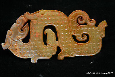 10.5CM Chinese natural old Jade Hand-carved beast Amulet Pendant Necklace AHQA