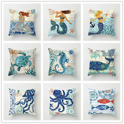 Mermaid and hippocampus Polyester Cushion Cover Throw Pillow Case Home Decor