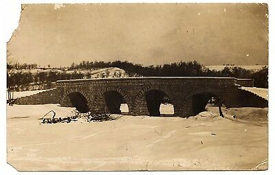 Vintage Postcard Winter Arched Bridge Snow Covered RPPC Real Photo 1910