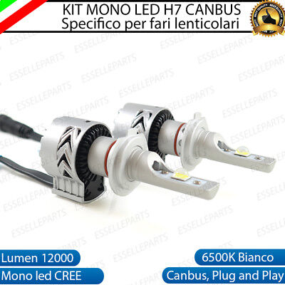Kit Led H7 6500K Full Canbus Xenon 12000Lm Lumen Mono Led Monoled X Lenticolare