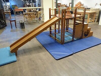 Vintage Retro 70's Hard Wood Child's Climbing Frame & Slide, School Gym, Fold Up