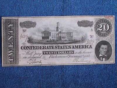 Authentic Confederate States of America $20 Bill-Currency/Feb 17 1864/Civil War