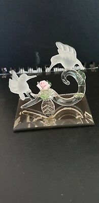 Hadrian Crystal? Hummingbird Flower Ornament Glass Mirror Rare Similar Swarovski