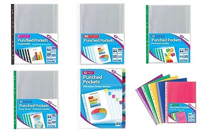 A4 Clear Plastic Poly Punched Pockets Filing Folders Wallets Sleeves