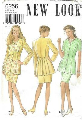 New Look Pattern 6256, Special Jacket with pleat back, Skirt Suit, Sizes 8-18