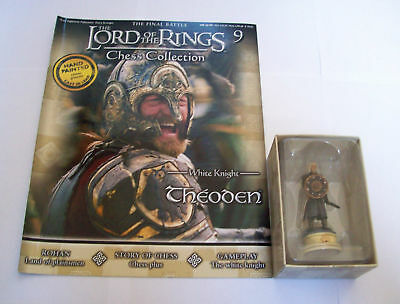 THEODEN LORD of the RINGS CHESS Piece FIGURE in BOX & MAG #9 Eaglemoss UK KNIGHT