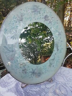 Antique Indian Wood & Glass Oval Mirror Embroidered Silk Beveled Glass C1920's