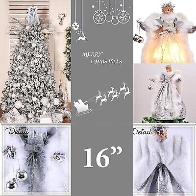 Christmas Tree Angel Topper Vintage Lighted Decoration 16 In Figurine Xmas Decor