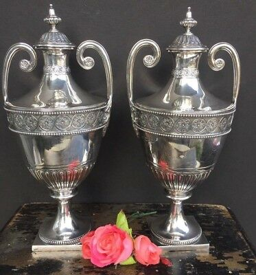 Pair Of Antique English Sterling Silver Tea Caddy Urn Jar Box