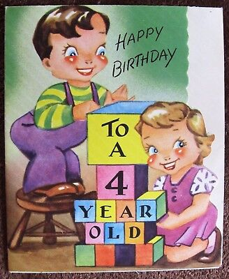 Vintage Birthday Card UNUSED 1940s Childs 4 Year Old Little Girl & Boy Building