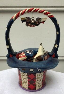 "Jim Shore Heartwood Creek ""Star Spangled Splendor"" 5 Pc Patriotic Basket"