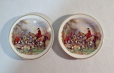 """2 Antique Staffordshire Tedman Made in England THE HUNT 4-1/2"""" Butter Pats"""