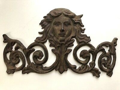 Antique Cast Iron Figural Wall Door Fence Victorian Art Lady Face Architectural