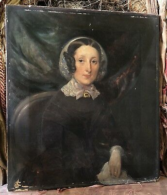 An Antique Victorian Portrait Of A Lady In Mourning, Oil On Canvas, Dated 1849.