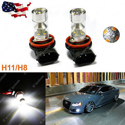 2x 6000K White 100W H11 H8 H9 H16 LED Bulbs for Fog Lights Lamp Replacement