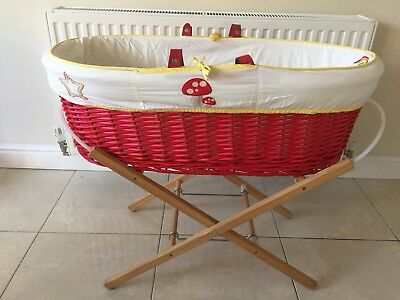 Little Bird Mothercare Baby Moses Basket Crib and Stand 6 Sheets Ex Cond