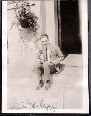 Vintage Photograph 1920-1930's Man Cigar Boston Terrier Dog Puppy Pup Old Photo