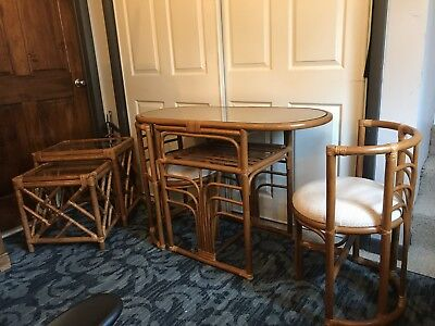 Mid Century Modern Vintage 1960's Bamboo & Rattan Dining Set W/2 Matching Tables