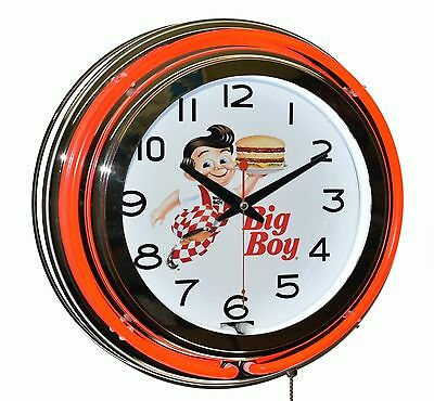 """Classic Bob's Big Boy Diner 15"""" Red Double Neon Advertising Wall Clock Decor"""