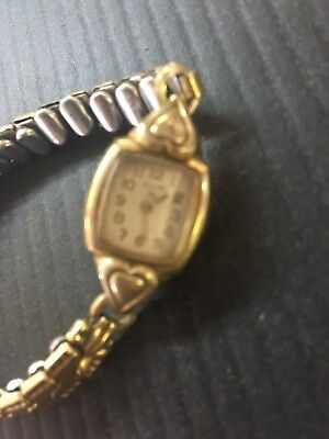 1950s vintage elgin womens watch with hearts on the bezel not working 10K RGP B4