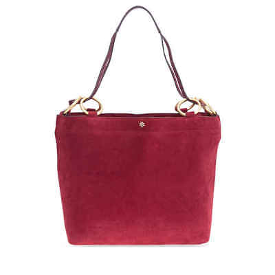 Tory Burch Farrah Suede Tote- Exotic Red 48917-602